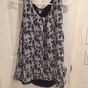 Blue and white two layer top